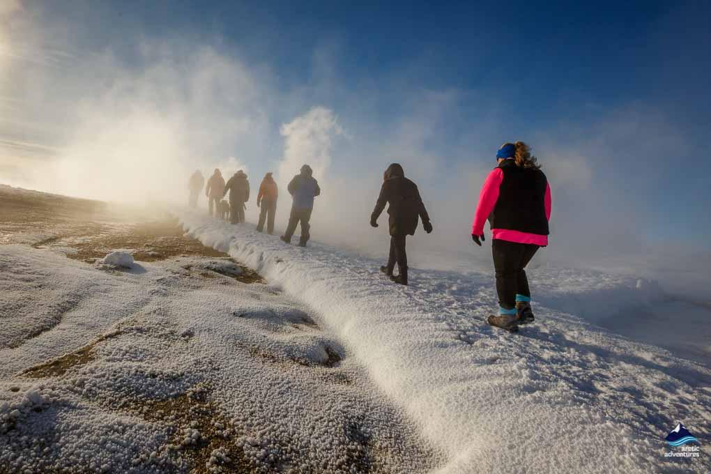 Walking at Hveravellir in Winter