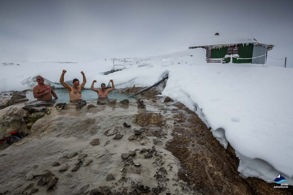 Many men bathing in Hveravellir Hot Spring