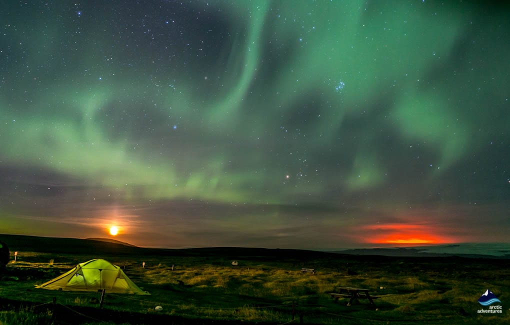 Northern Lights dancing above Hveravellir Hot Springs