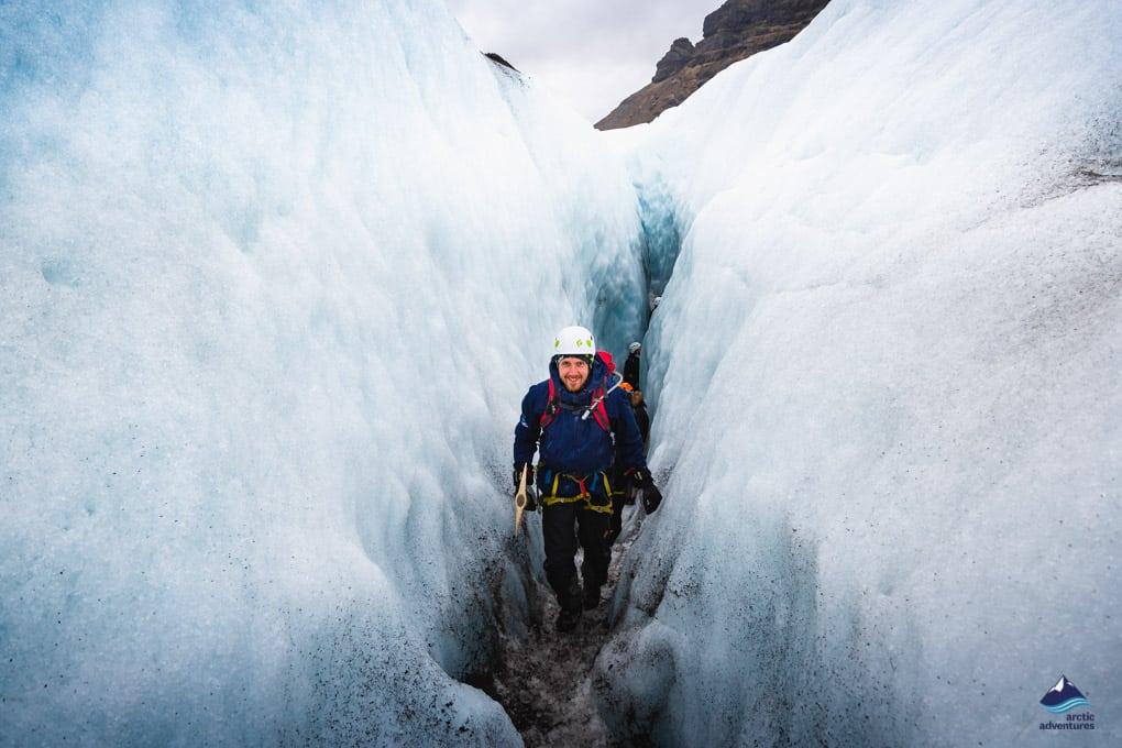 Hiker standing on Skaftafell Glacier