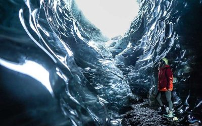 Girl in Crystal Ice Cave