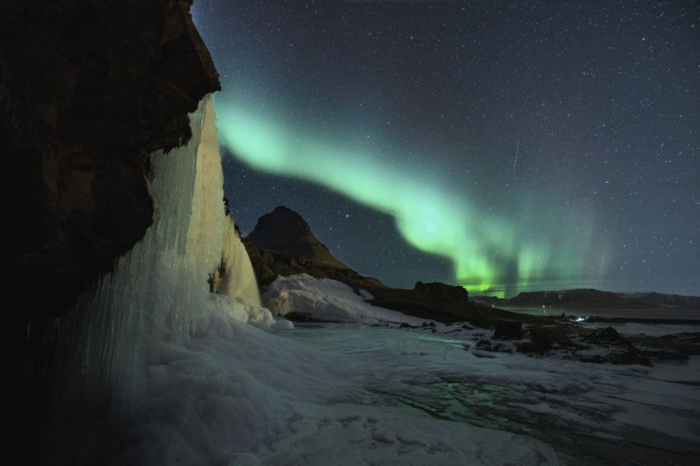 Auroras at Kirkjufell Mountain
