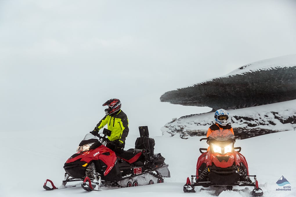 Snowmobiling on Langjokull Glacier