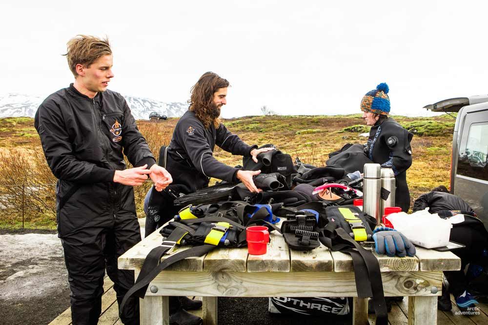 Guides getting equipment ready