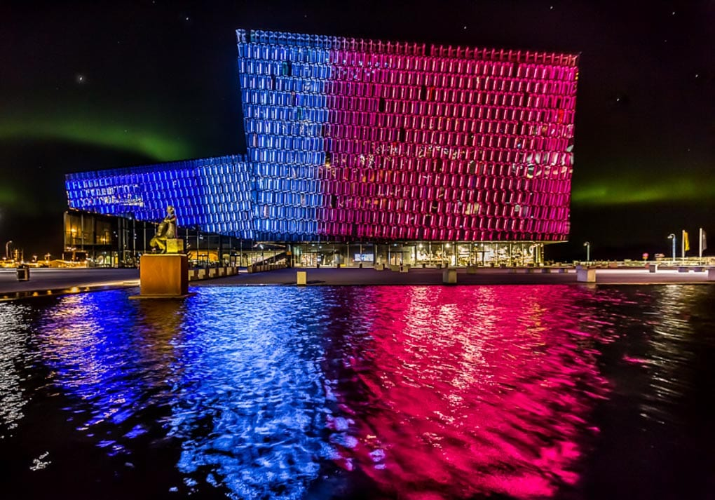 Harpa music center at night