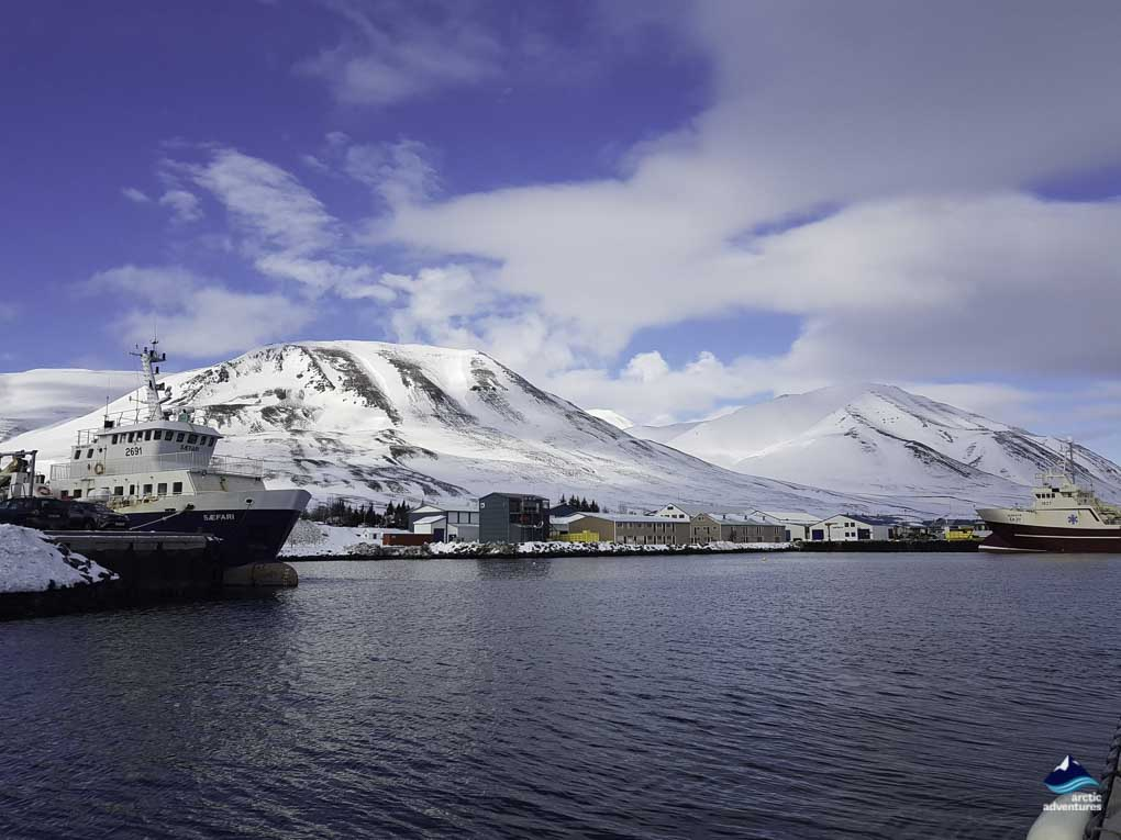 Dalvik seen from the harbour
