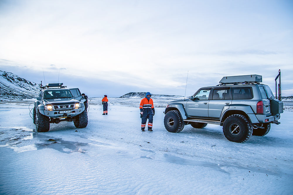 super trucks on the glacier