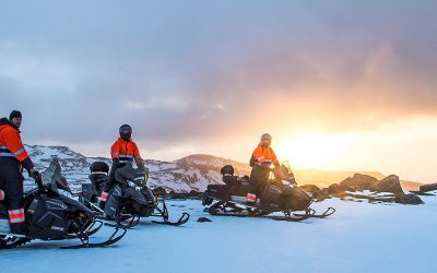 Snowmobiling on glacier