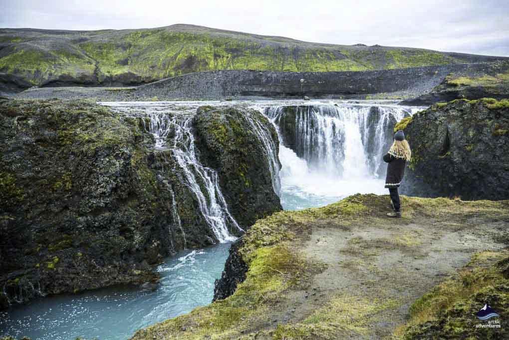 waterfall on landmannalaugar hike