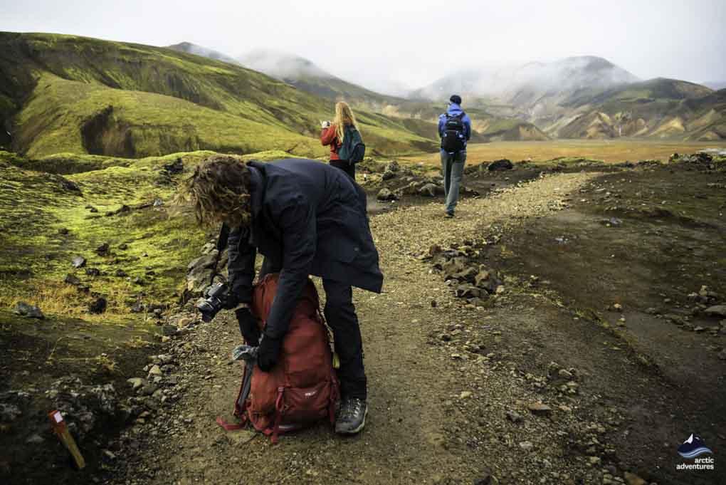 hikers on landmannlaugar trek