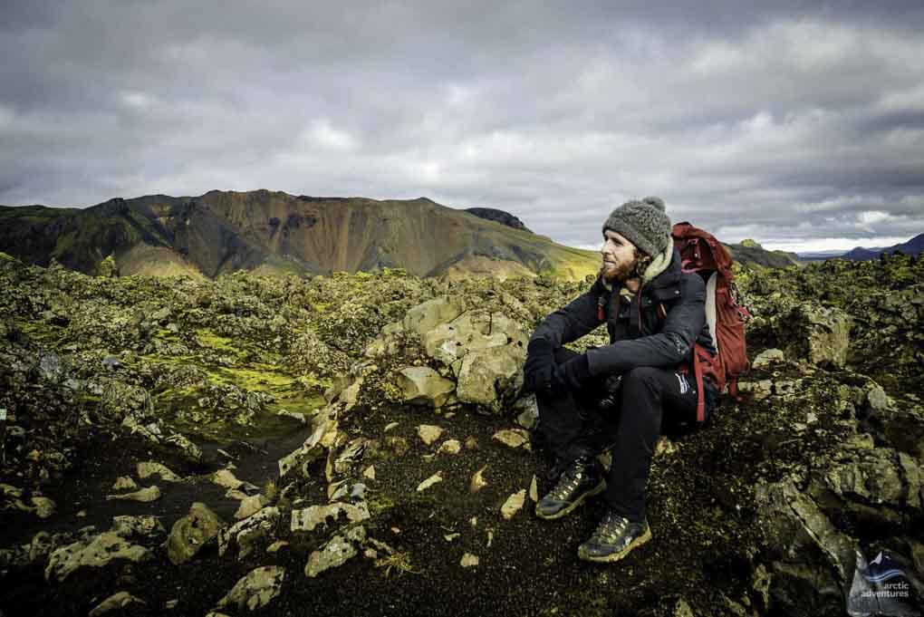 taking in the view at landmannalaugar
