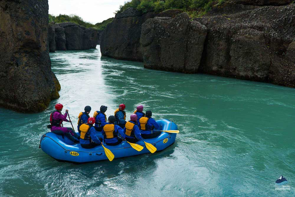 rafting boat on gullfoss canyon