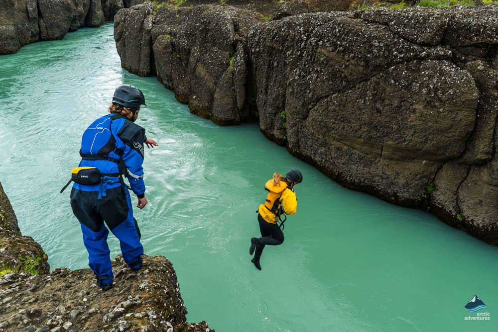 jumping into gullfoss canyon