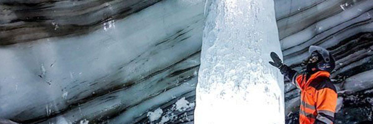 frozen waterfall langjokull ice cave