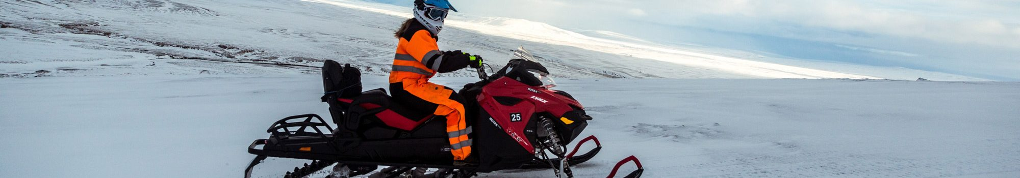 snowmobile equipment on langjokull glacier