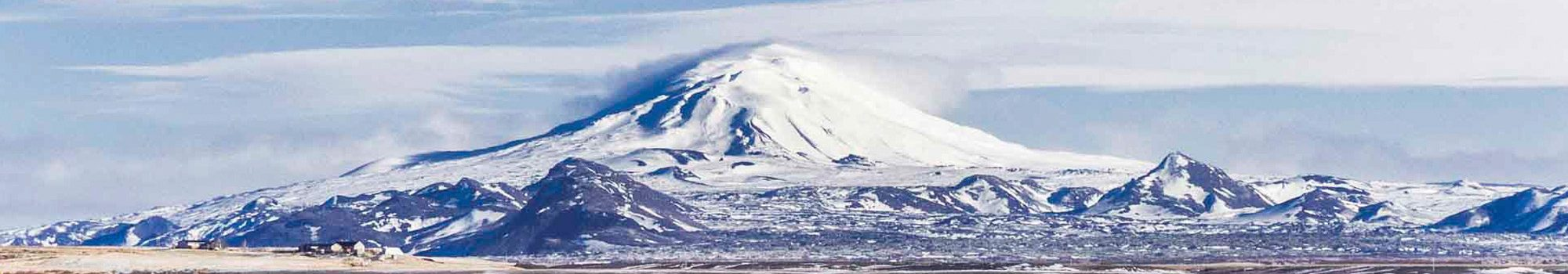 snow view of hekla volcano