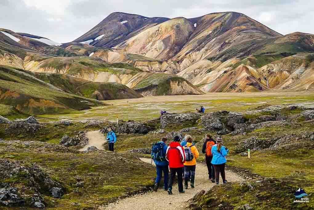 Group of people hiking in Landmannalaugar