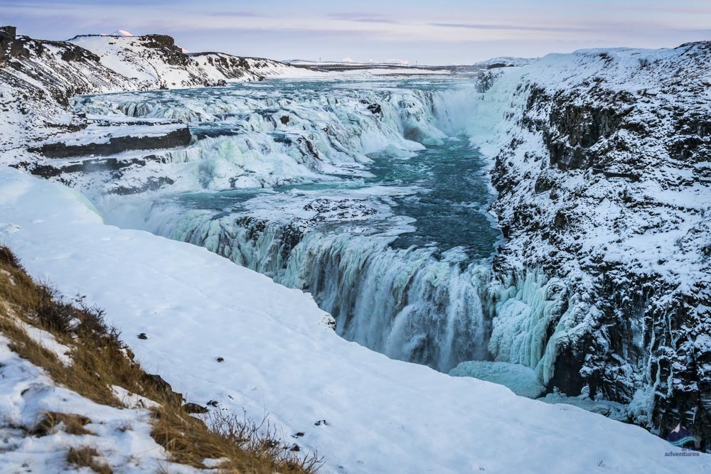 Gullfos waterfall in winter