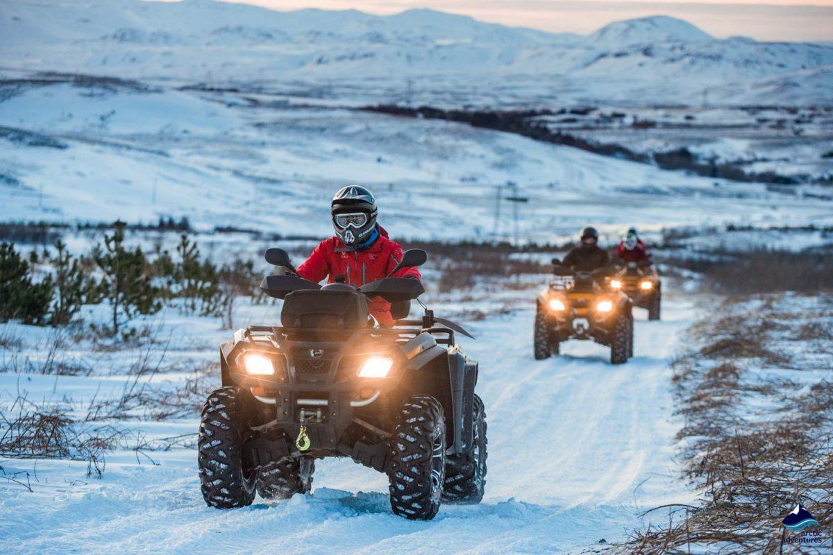 Man riding ATV quad bike in Iceland