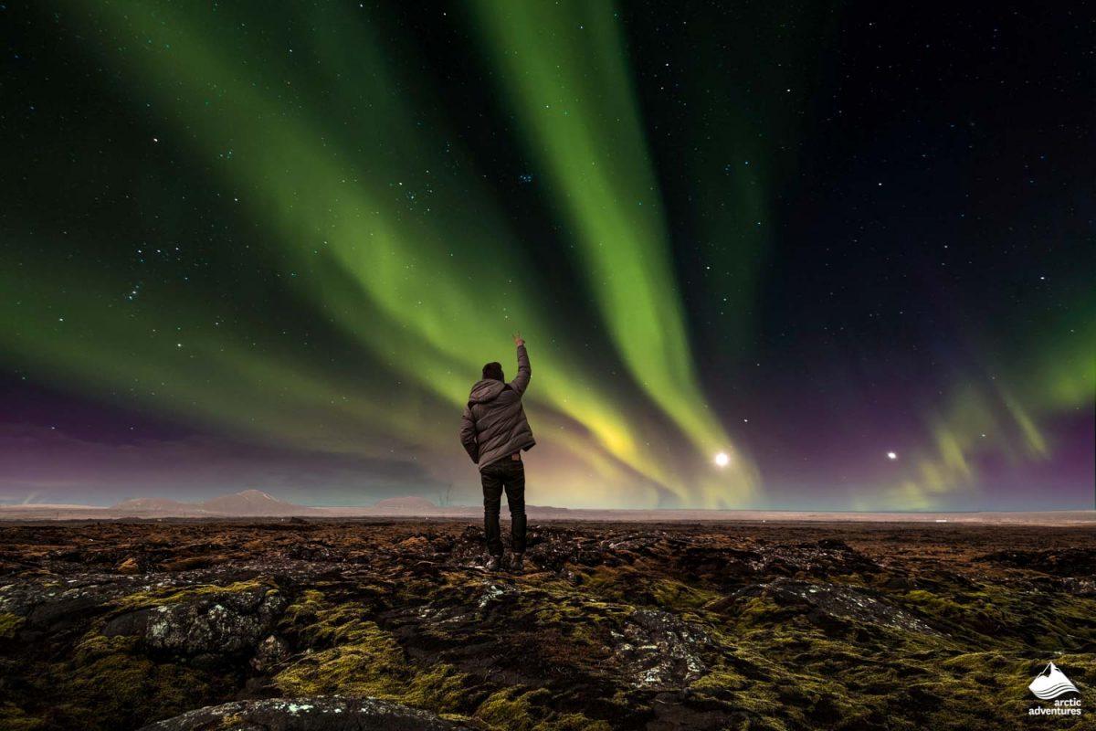 Landscape of amazing beautiful Aurora Borealis