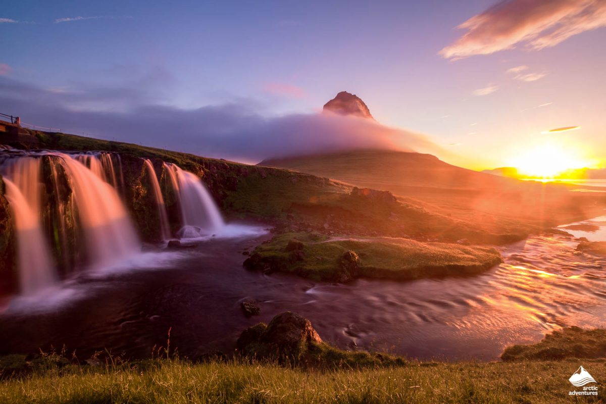 Kirkjufellsfoss waterfall at morning