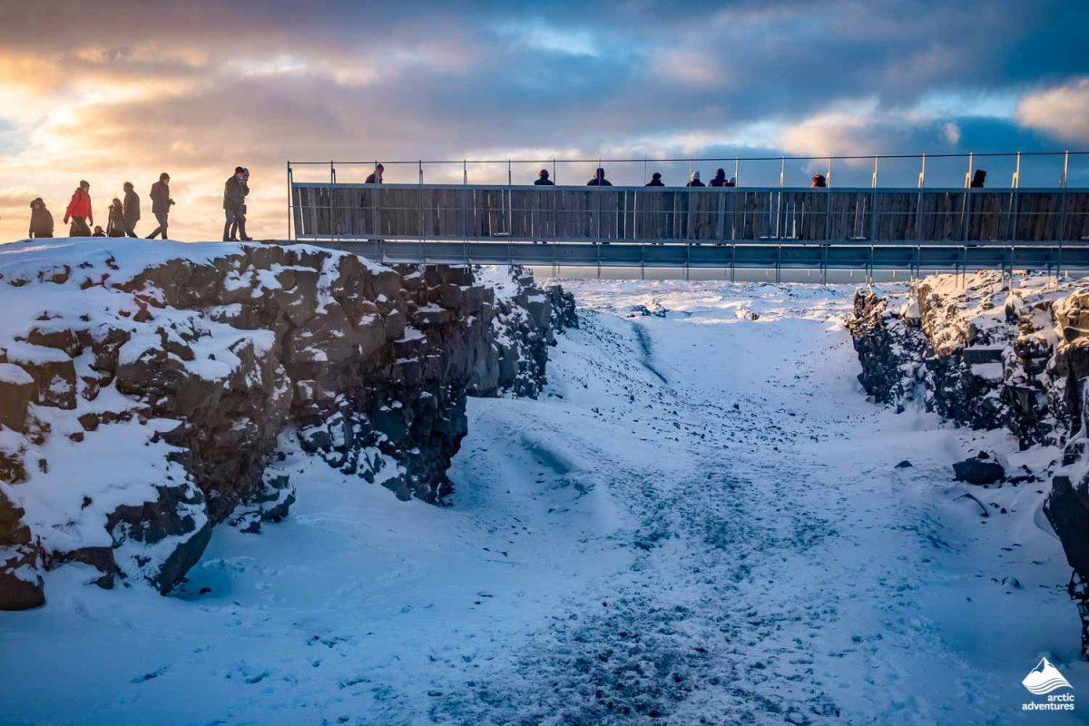 Bridge between continents in Iceland