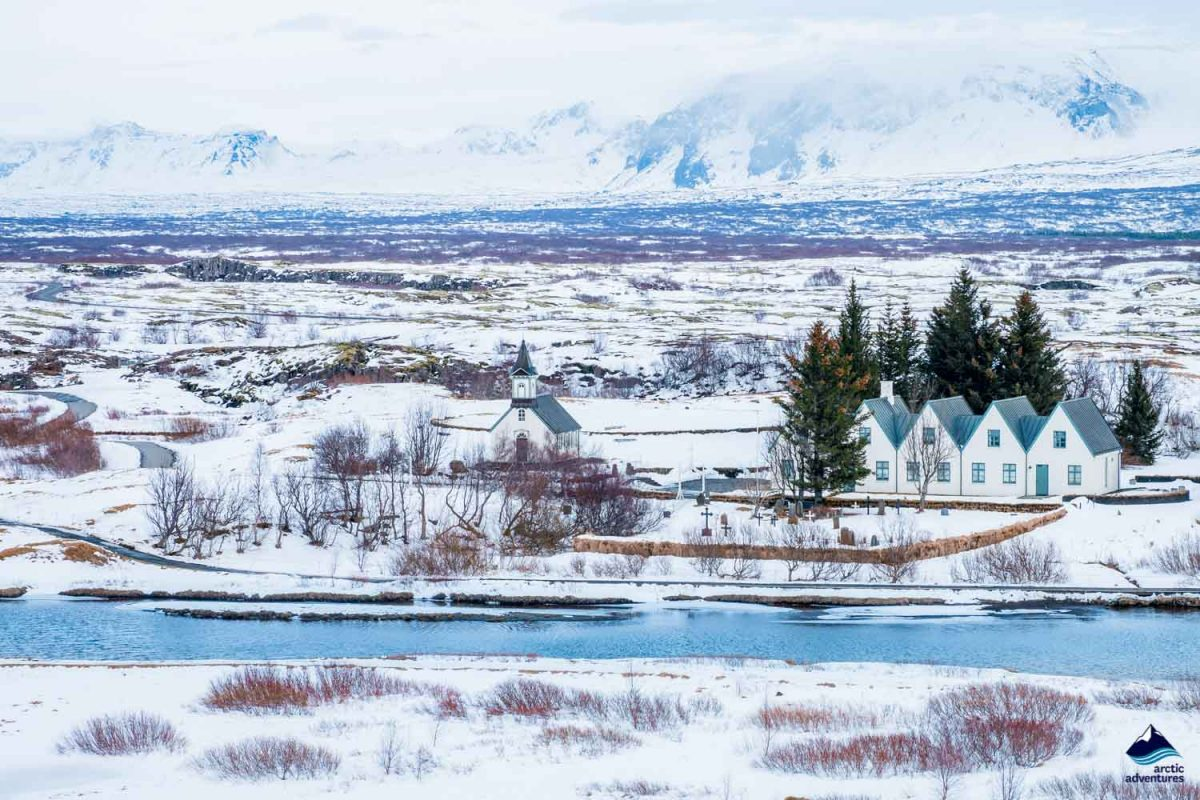 Winter landscape in Thingvellir National Park