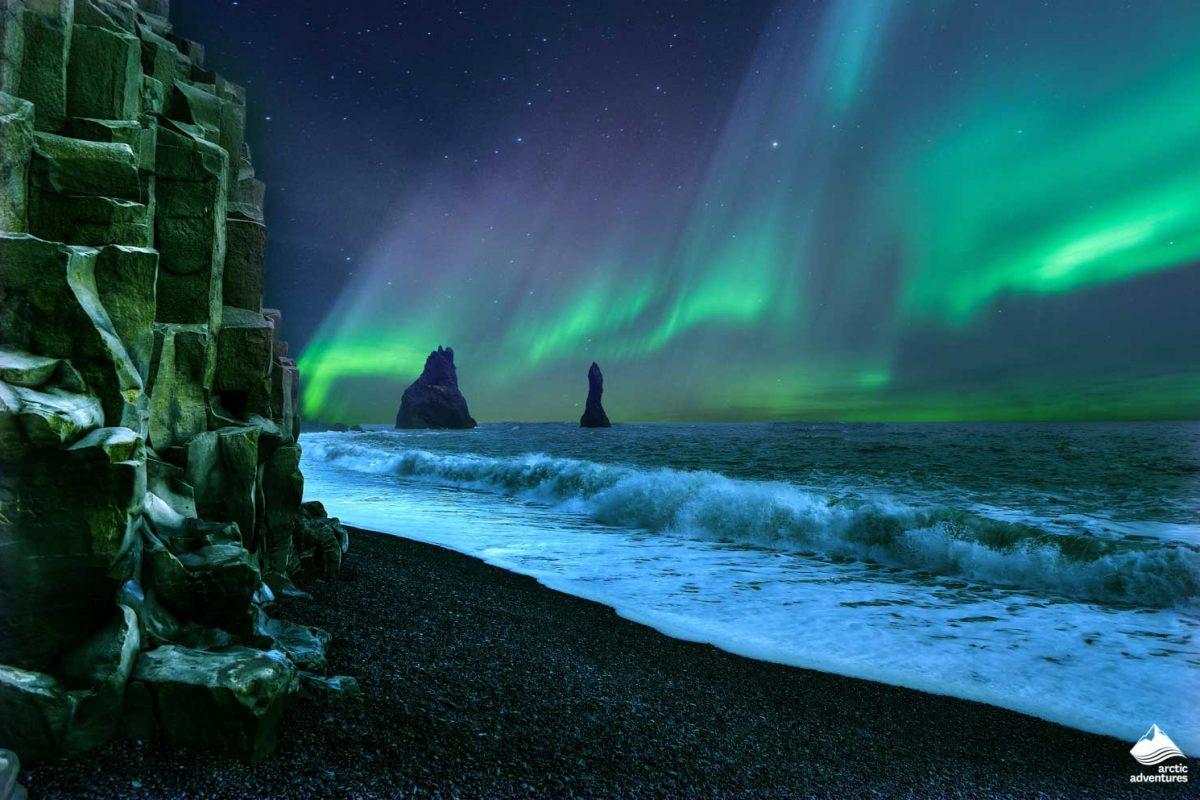 Black sand beach Northern Lights