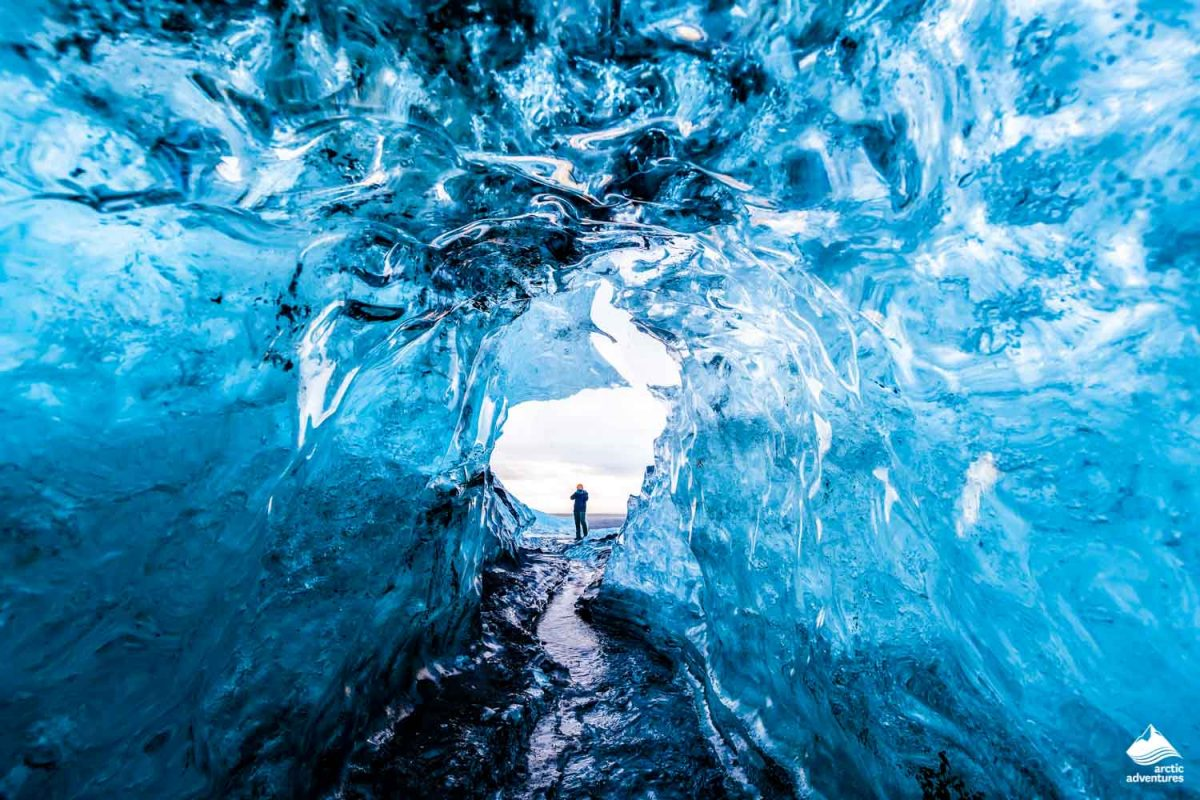 Inside an ice cave in Iceland