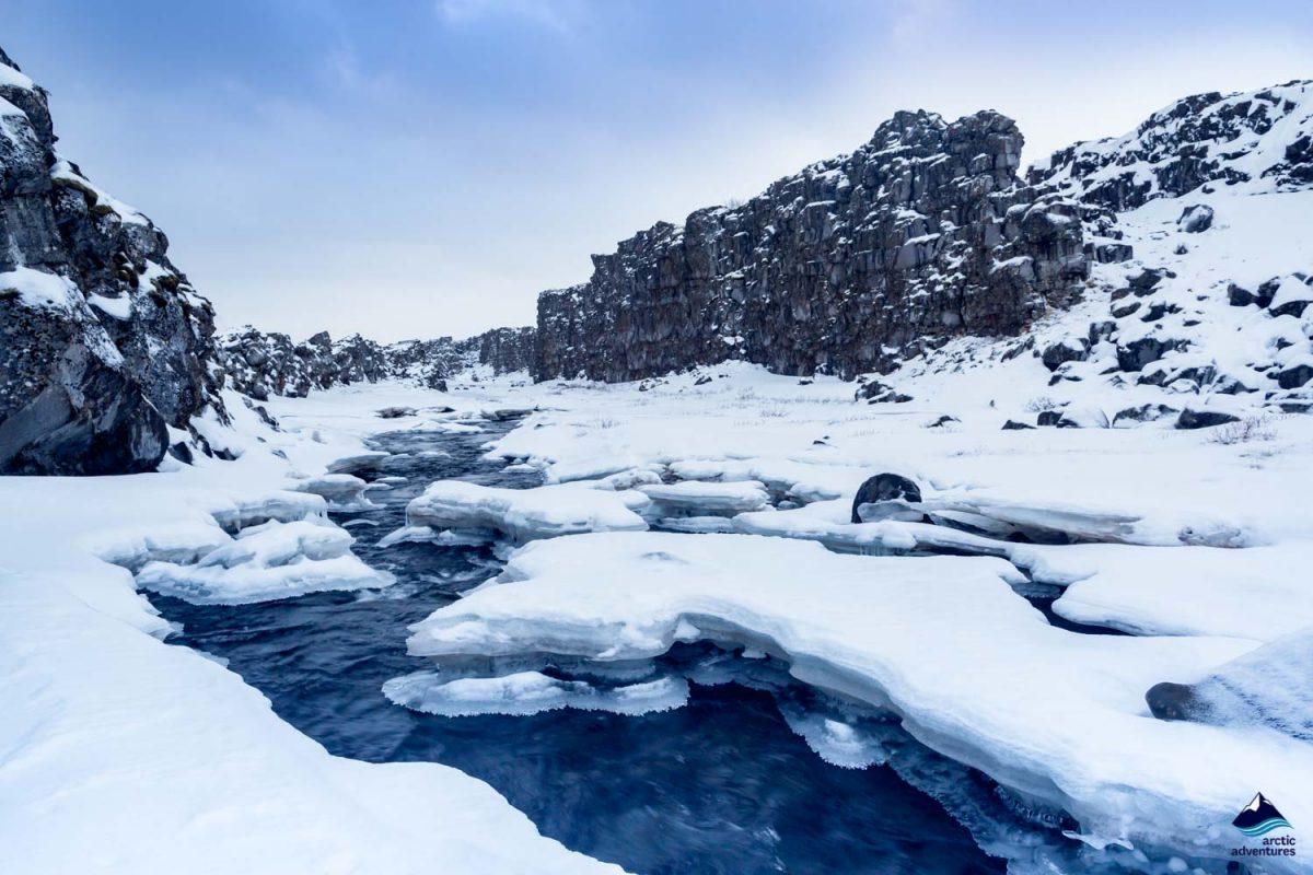 Valley of Thingvellir in winter