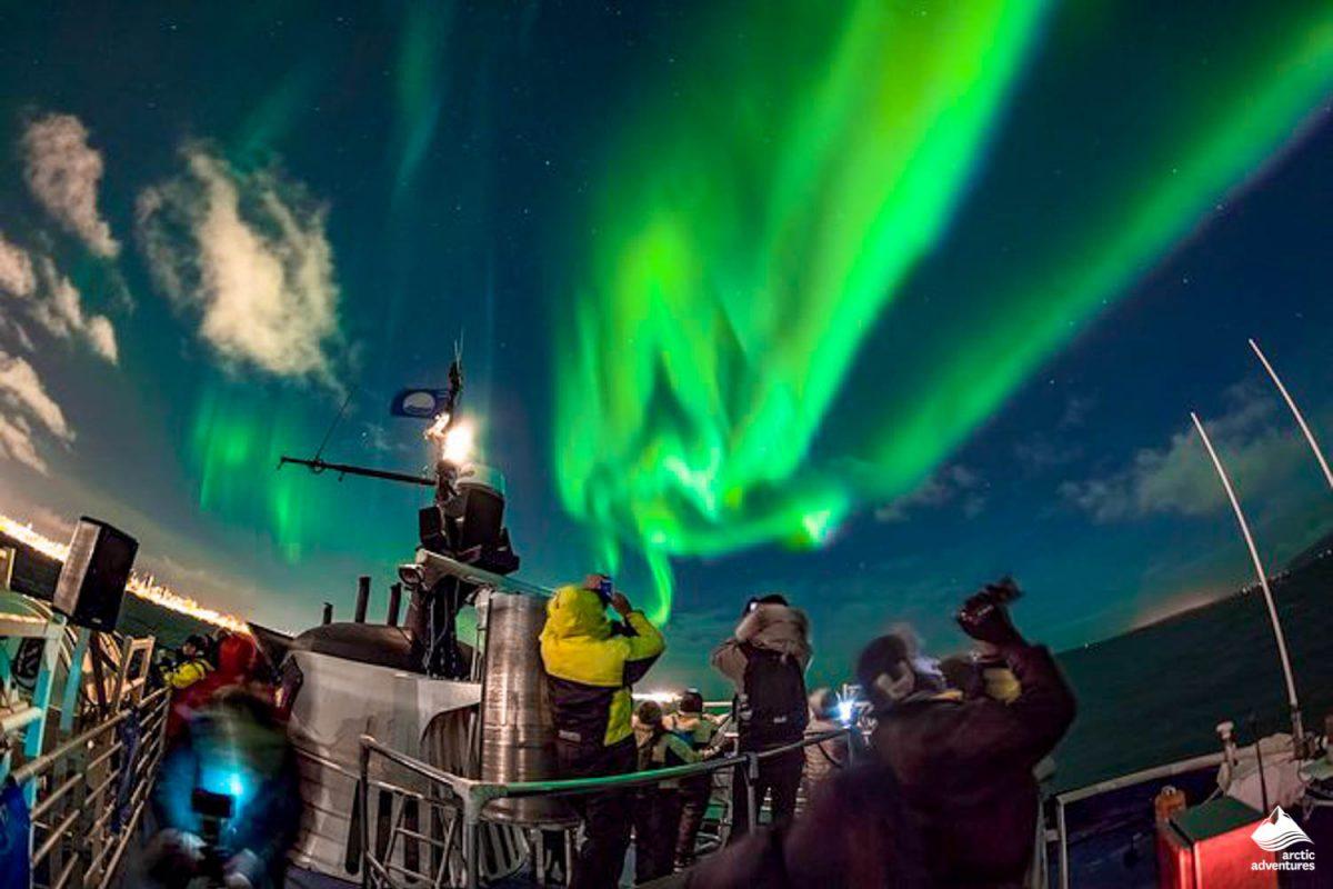 Aurora Borealis from boat in Reykjavik