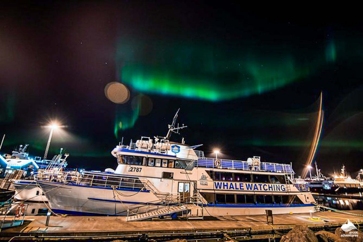 Whale watching boat and Northern Lights