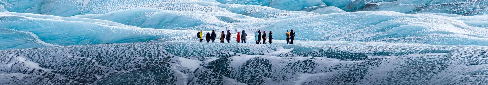 Mountaineers hiking on a glacier in Iceland