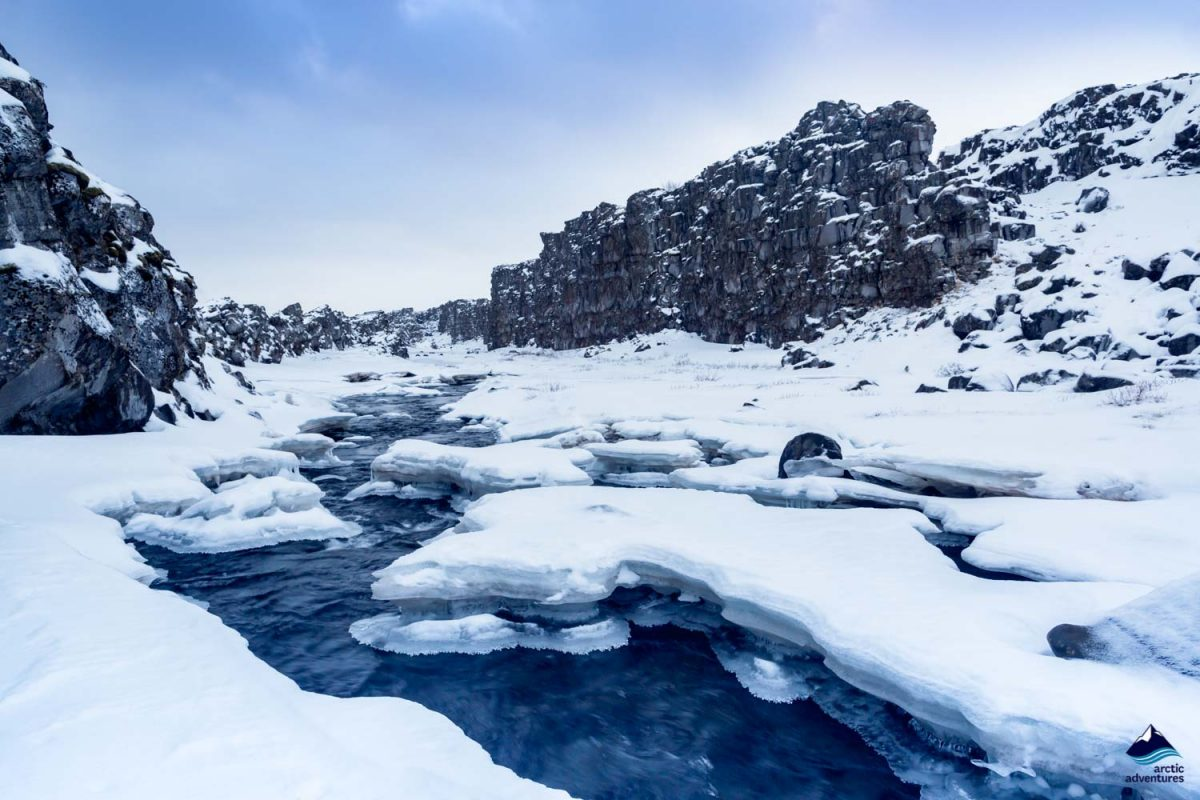 Landscape in Thingvellir in winter