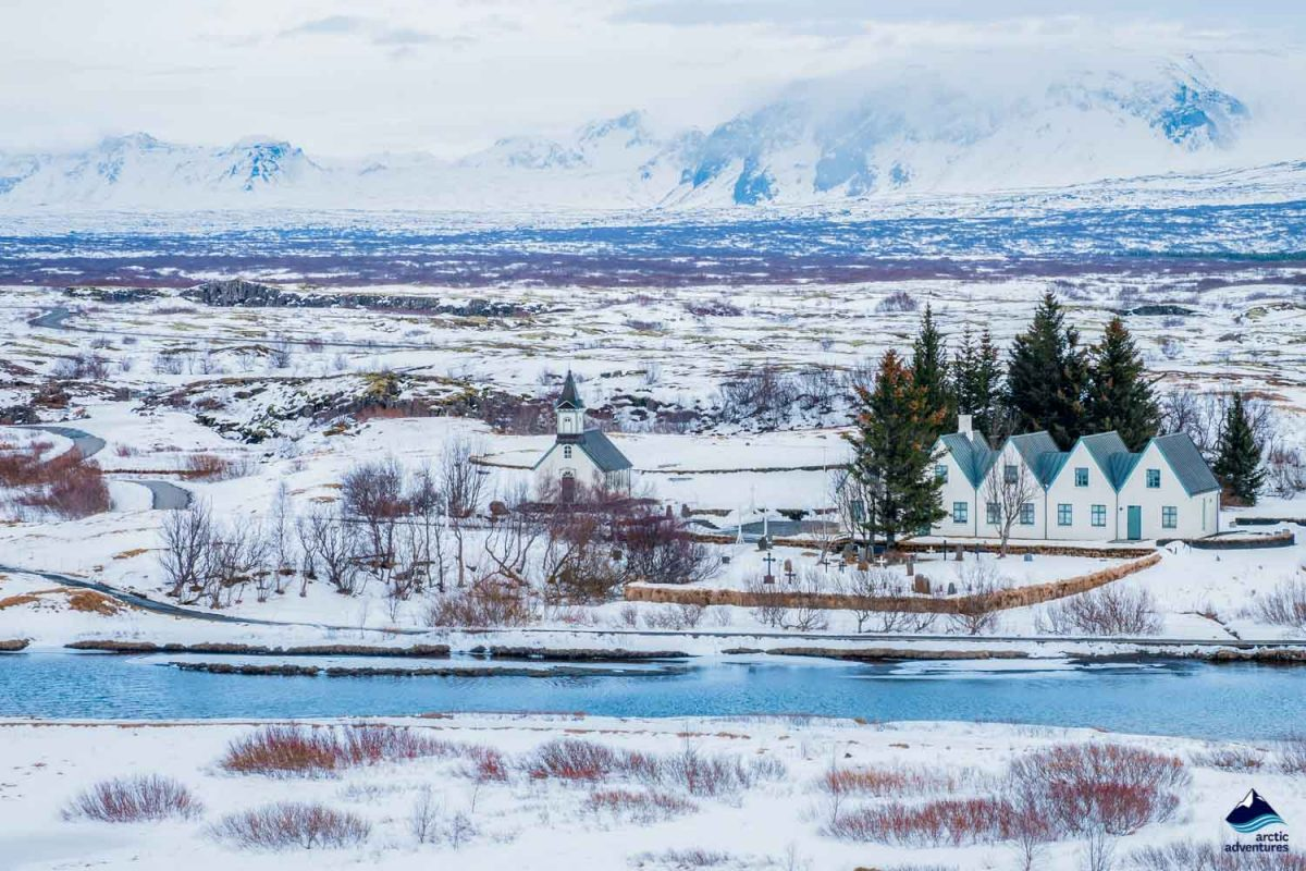 Beautiful View and winter Landscape picture in Thingvellir National Park