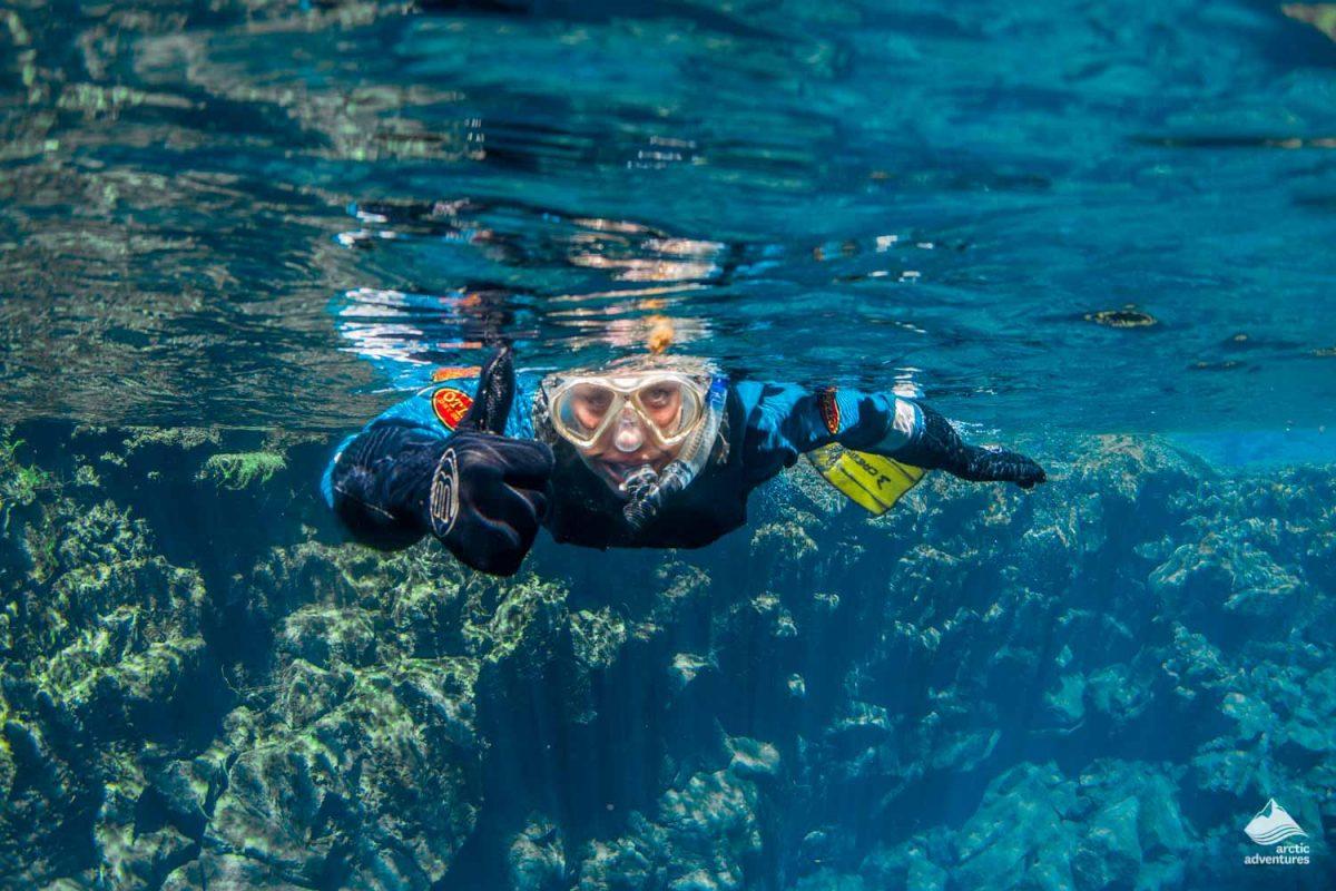 Snorkeling in crystal blue Silfra Fissure
