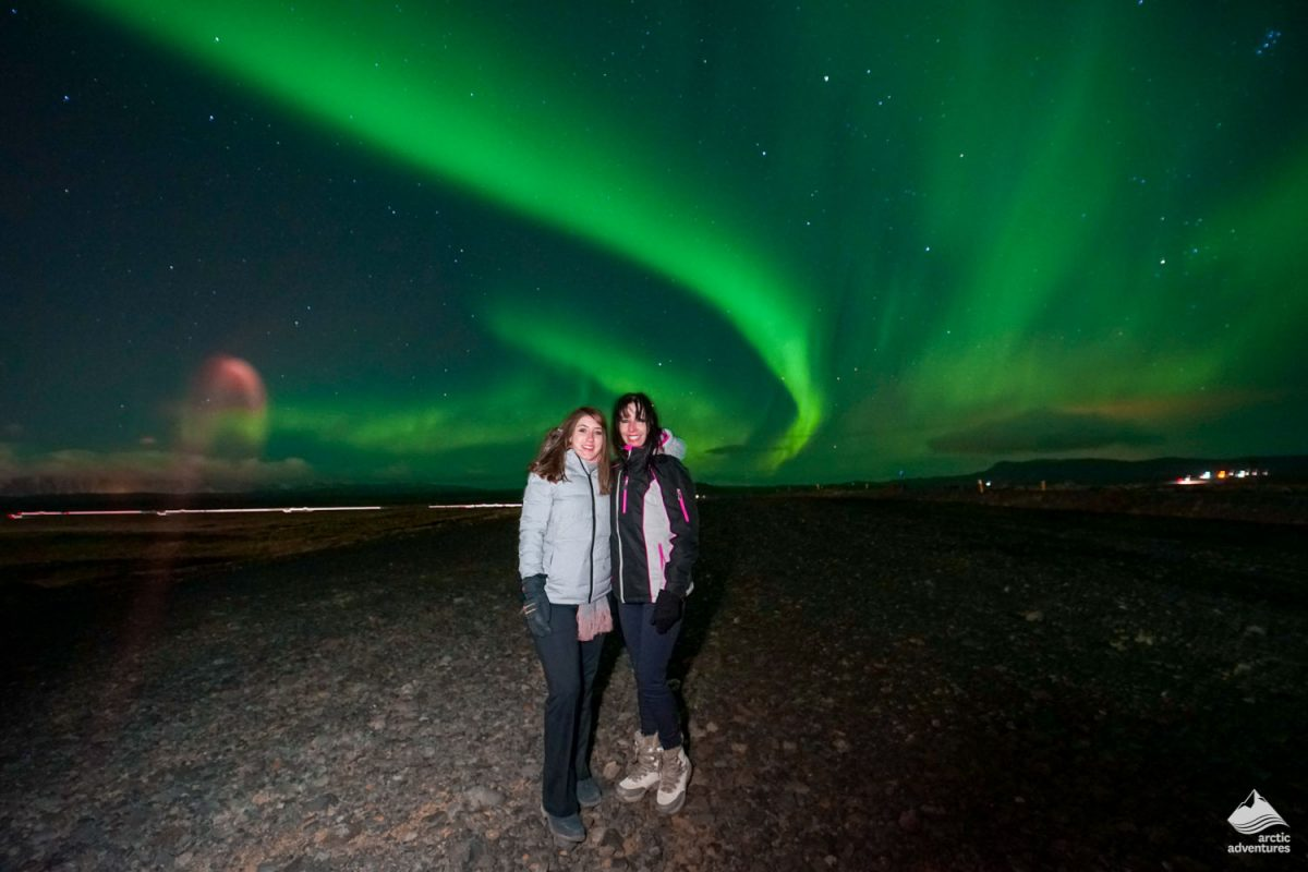 Photo in front of Northern Lights