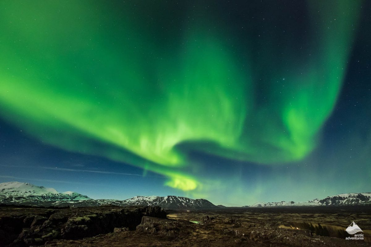 Aurora borealis over the Thingvellir National Park