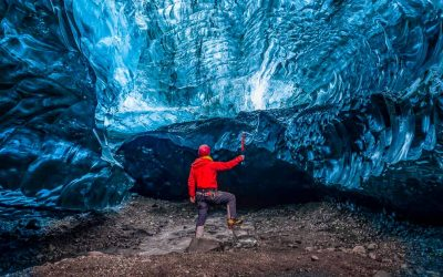 Inside an glacier ice cave