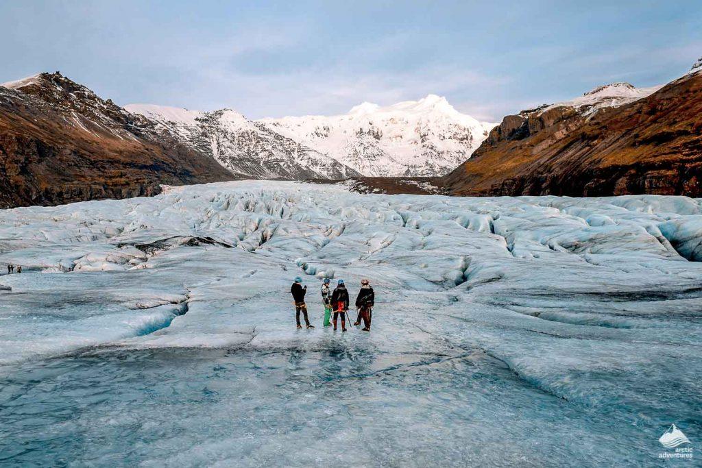Group of people on Svinafellsjokull glacier