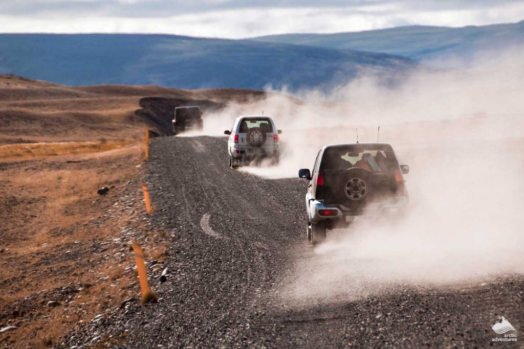 4x4 jeeps on unpaved road in Iceland