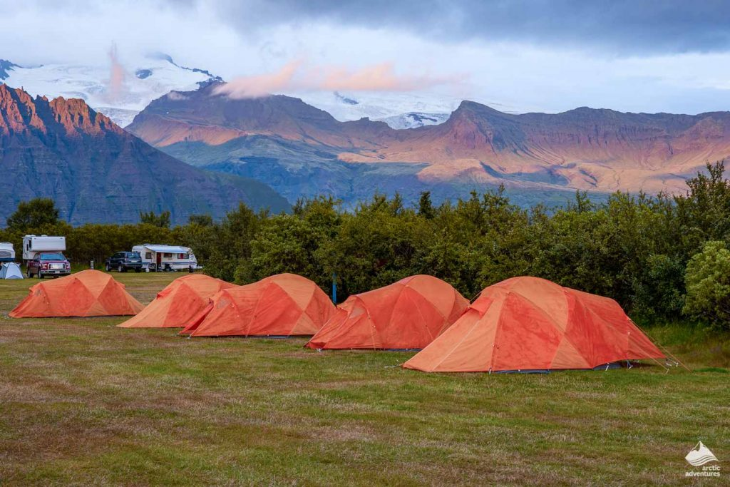 Orange camp tents in Iceland