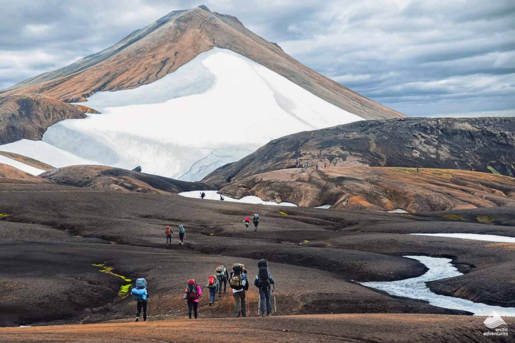 Group of hikers in the mountains of Iceland