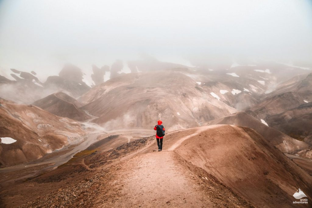 Lonely hiker in Landmannalaugar