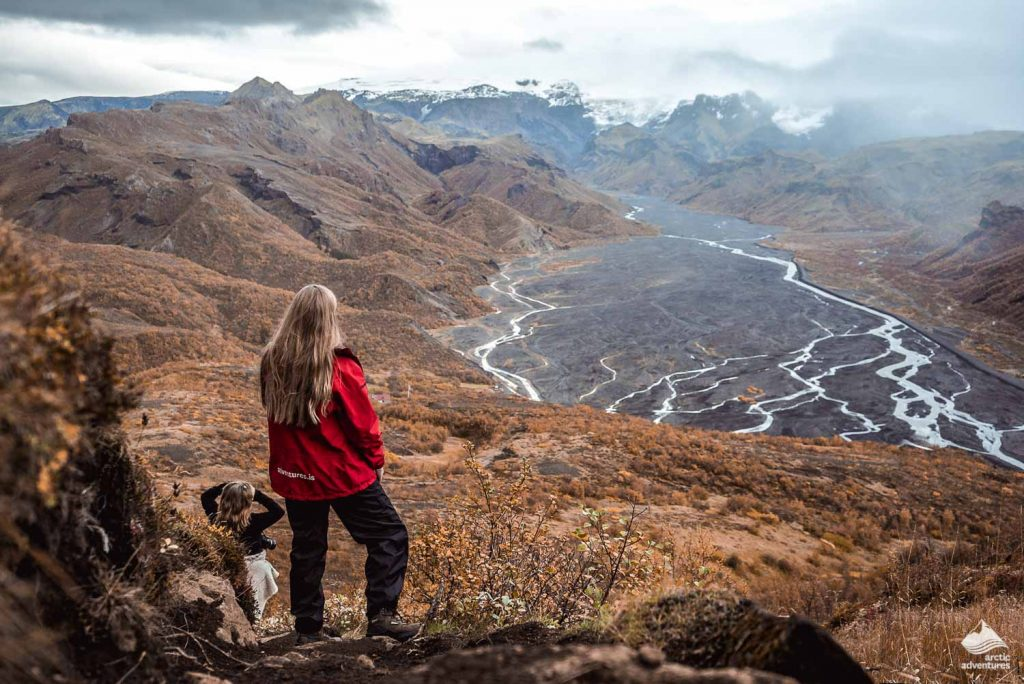 Two girls giking in Iceland