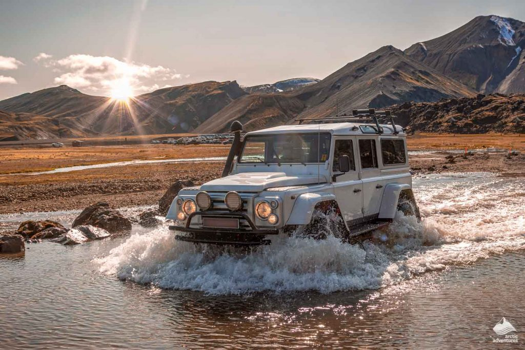 Jeep 4x4 crosses river in Iceland