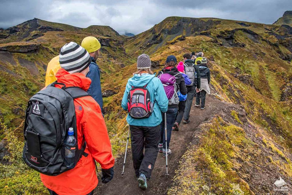 Group of people hiking in Thorsmork, Iceland