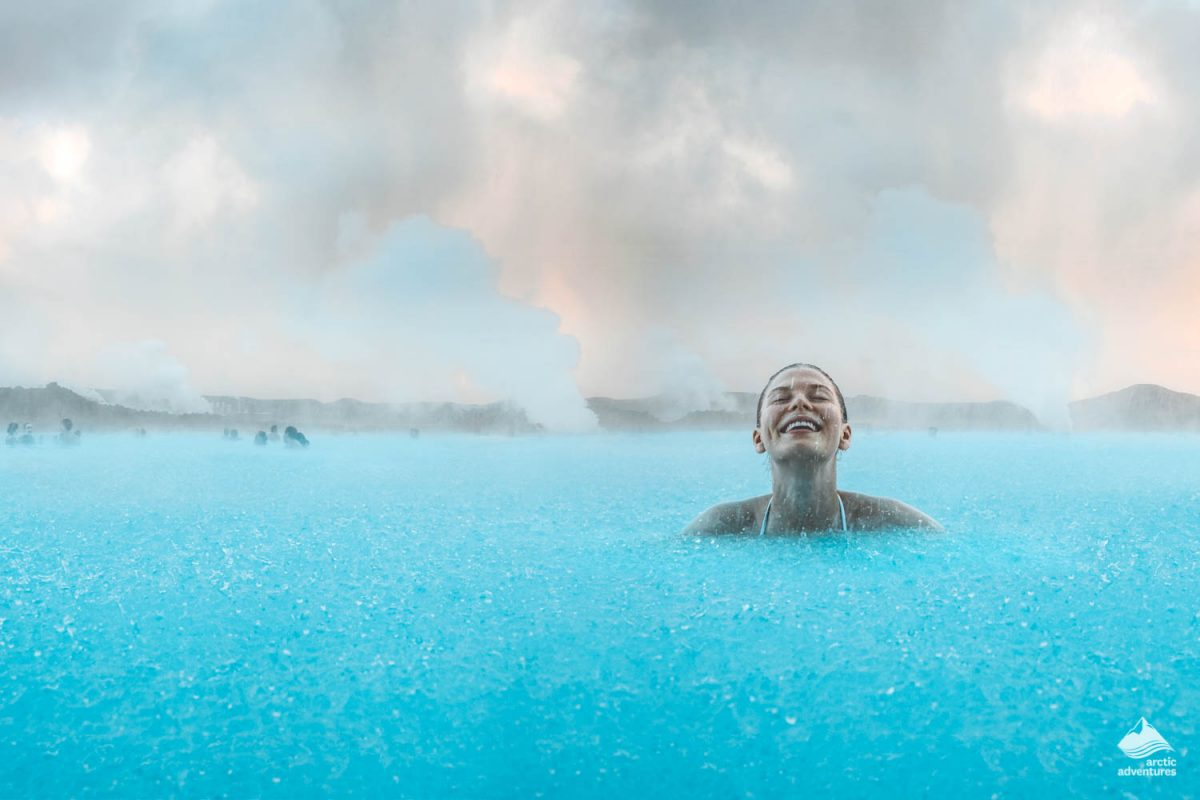Woman swimming in the Blue Lagoon
