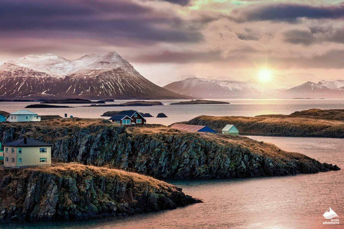 Stykkisholmur rocky fjords at sunset.