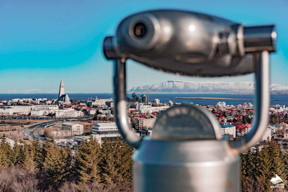 Binoculars with panoramic view in Reykjavik
